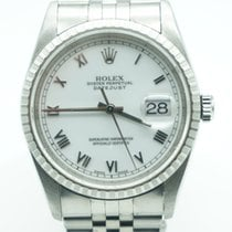 Rolex Datejust 36 White Dial Roman Stainless Steel Fluted Bezel
