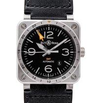 ベル & ロス BR 03-93 GMT Black Steel/Leather 42mm - BR0393-GMT-ST/SCA