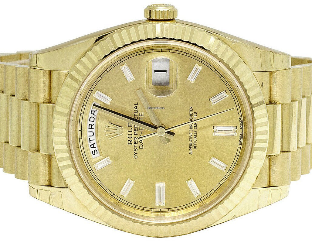 Rolex 18k Yellow Gold Day Date Ii 228238 President 40mm Factory Dial Watch