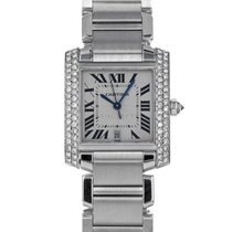 Cartier White gold Automatic Silver Roman numerals 28mm pre-owned Tank Française
