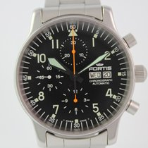 Fortis Flieger Day Date Chronograph #A3437 Stahlband, Sichtboden