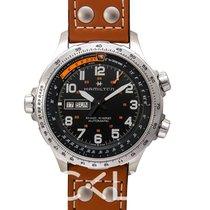 汉米尔顿 Khaki Aviation X-Wind Day Date Auto Black Steel/Leather 45mm