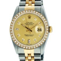 Rolex Mens Datejust SS & 18K Y Gold Champagne Diamond Dial