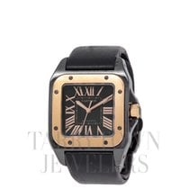 Cartier Santos 100 pre-owned 33mm Black Satin