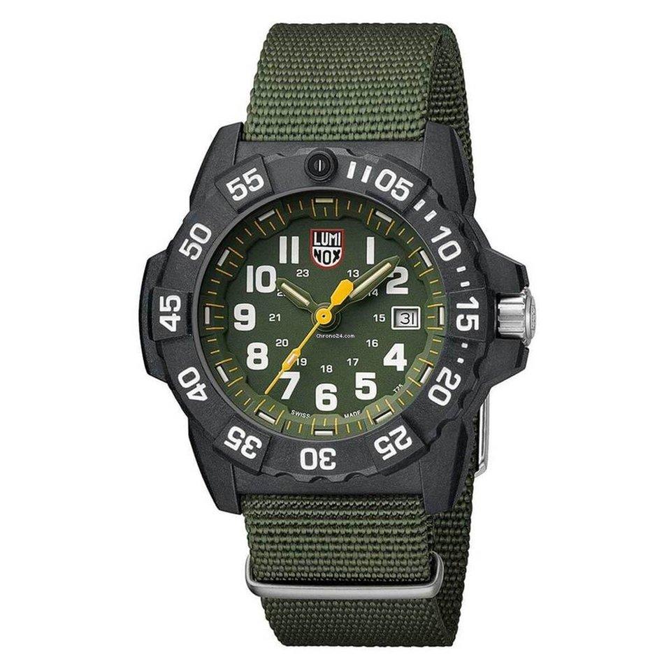 Luminox Men S Watch Strap Navy Seal 3500 Trident Green Dial 3517