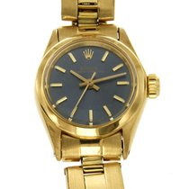 Rolex Oyster Perpetual 26 Yellow gold 24mm Blue No numerals