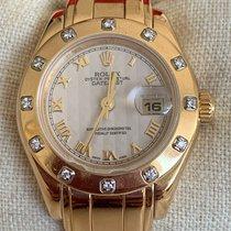 Rolex Lady-Datejust Pearlmaster Sárgaarany 29mm Fehér Római