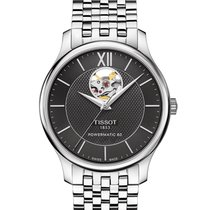 Tissot Tradition Automatic Open Heart Stainless Steel Black...