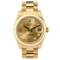 Rolex Datejust 31 Yellow Gold Champagne Diamond Ruby Dial 178278