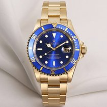 Rolex Submariner Date 16618 18K Yellow Gold Blue