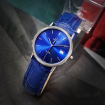 Omega Mens De Ville Quartz Blue dial vintage stainless steel...