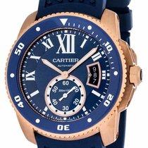 Cartier Calibre Diver Blue Rubber Band Automatic Men's Watch...