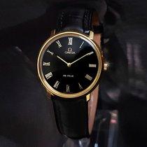 Omega De Ville 18K Gold Plated Black Dial vintage mens watch +...