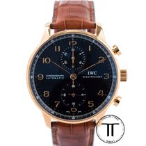 IWC Portuguese Chronograph pre-owned 40.9mm Black Chronograph Crocodile skin