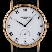 Patek Philippe 18k Rose Gold White Enamel Dial Calatrava 3919R