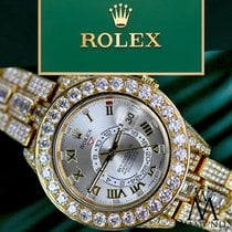 Rolex Yellow gold Automatic Silver 42mm new Sky-Dweller