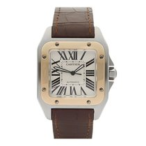 Cartier Santos 100 Stainless Steel & 18k Yellow Gold Gents...
