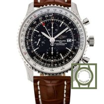 Breitling Navitimer World Black Dial Brown Croco Strap