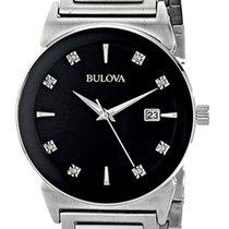 Bulova Men's 40mm Stainless Steel Black Dial Diamond Watch