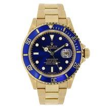 Rolex SUBMARINER 18K Yellow Gold Watch Blue Ceramic Box/Pap