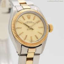 Rolex Oyster Perpetual 26 26mm Champán Sin cifras