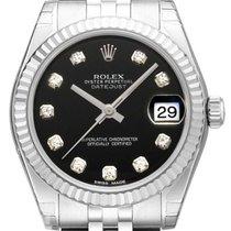 Rolex Oyster Datejust 31 Ref. 178274 Jubile-Band Schwarz DIA