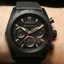 Tudor FASTRIDER BLACK SHIELD Black Chrono Gold Index  Rubber...
