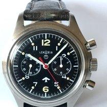 Lemania Militär-Armbanduhr mit Chronograph und 30-Minutenzähler