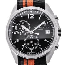 Hamilton Khaki Pilot Pioneer nieuw Quartz Chronograaf Horloge met originele doos en originele papieren H76552933