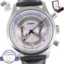 Eterna Chronograph 42mm Automatic pre-owned Heritage Pulsometer Silver