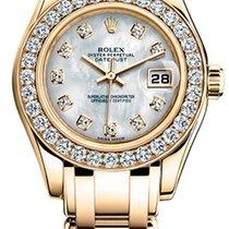 Rolex Lady-Datejust Pearlmaster Žluté zlato 29mm Perleťová Bez čísel