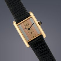 Cartier Cеребро Механические Золотой 21mm подержанные Tank Vermeil