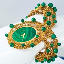 "伯爵 黃金 手動發條 Malachite Dial Open Work Textured ""Manchette"" Bangle Watch 新的"