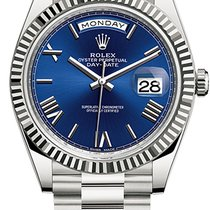 Rolex Day-Date 40 Or blanc 40mm Bleu