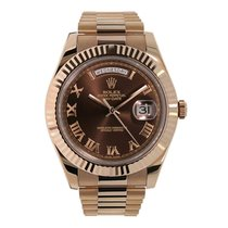 Rolex DAY-DATE II 41mm 18K Rose Gold Chocolate Watch UNWORN