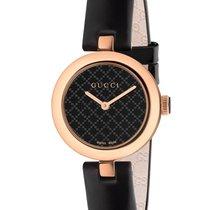 Gucci Pозовое золото Кварцевые Чёрный 27mm новые Diamantissima