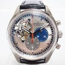 Zenith El Primero Chronomaster pre-owned 42mm Silver Chronograph Tachymeter Crocodile skin