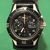 辛恩 (Sinn) 5100 Military Chronograph SS Black Dial with Leather...