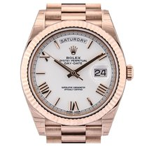 Rolex Day-Date 40 Rose Gold White Roman Dial