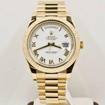 Rolex Oro amarillo Automático Blanco Romanos 41mm usados Day-Date II