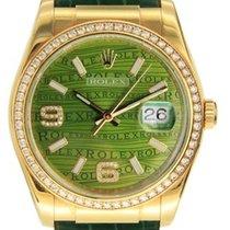 Rolex Datejust Gelbgold 36mm Grün Keine Ziffern
