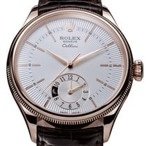 Rolex Cellini Dual Time Oro rosado 39mm Plata