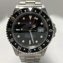 Rolex GMT-Master II Steel Black Dial Black Bezel 16710 with...