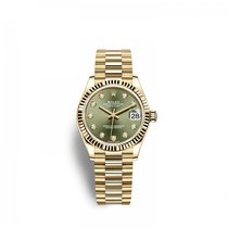 Rolex Yellow gold Automatic Green 31mm new Lady-Datejust