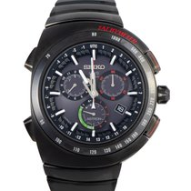 Seiko Titanium Quartz Black 46.3mm pre-owned Astron GPS Solar Chronograph