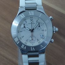 Cartier 21 Chronoscaph Staal 38mm Wit
