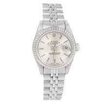 Rolex Datejust Ladies Steel White Gold Silver Baton Dial Watch...