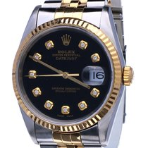 Rolex Oyster Datejust Jubilee Gold Steel Black Dial Diamonds...