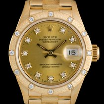 Rolex Datejust Gold Ladies Bark Finish Diamond Set 69288