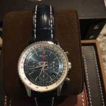 Breitling Montbrillant 01 pre-owned Blue Chronograph Date Crocodile skin